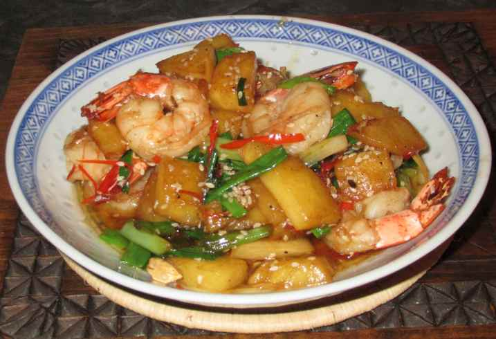 Sesame Prawn with Pineapple 1