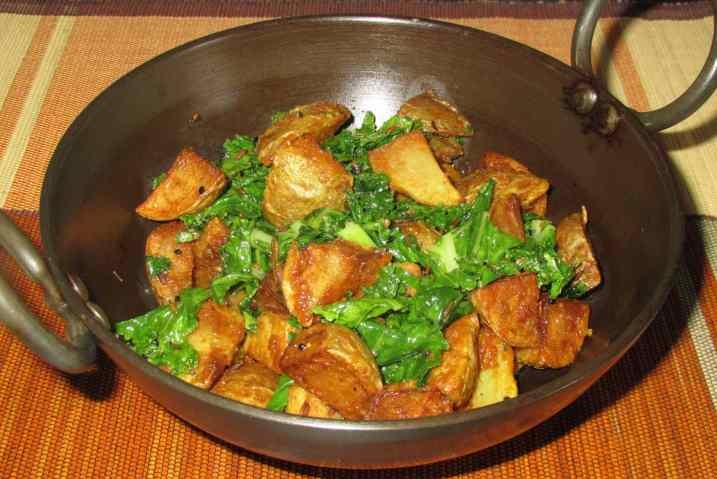 Bengali Potato and Greens 1