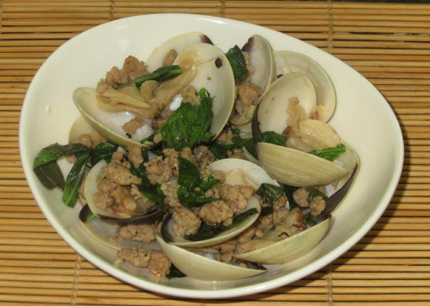 Clams and Pork with Basil 1
