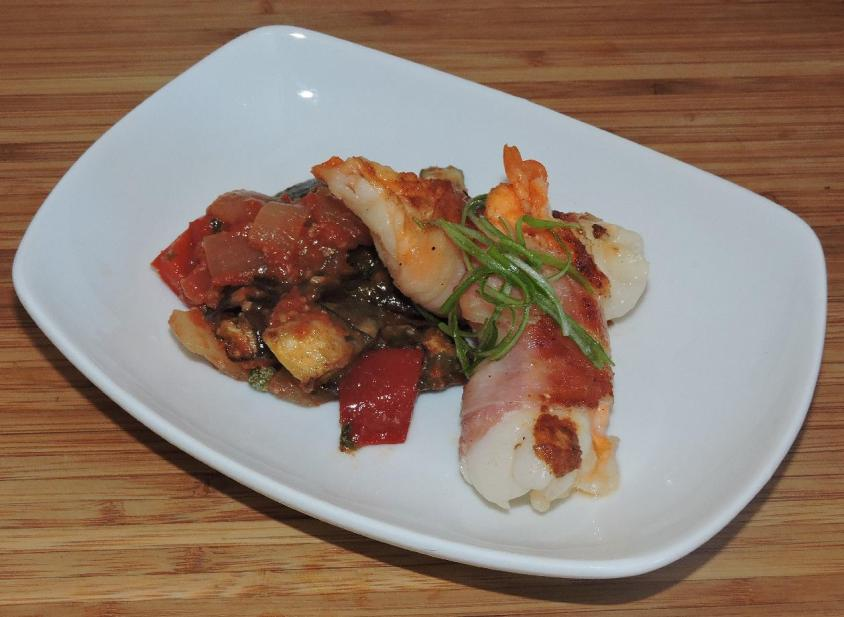Ratatouille with Pancetta Wrapped Prawns