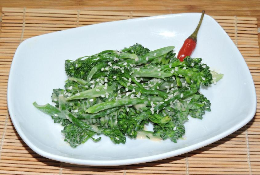 broccolini with sesame miso dressing 1